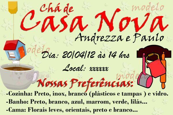 Convite Chá De Casa Nova Loja De Driluk