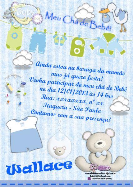 Convite Chá De Bebê Com Varalzinho E Ursinho Loja De Driluk
